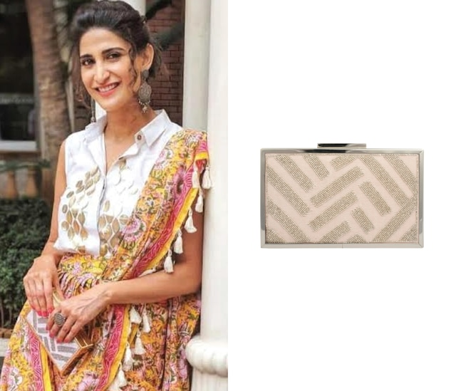 Pink Silver Cutdana Embroidered Clutch by Vareli Bafna Designs