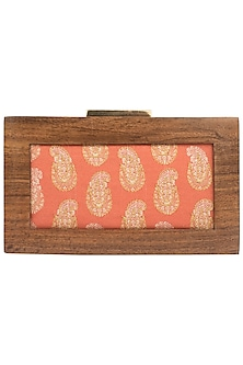 Orange Wooden Frame Clutch by Vareli Bafna Designs