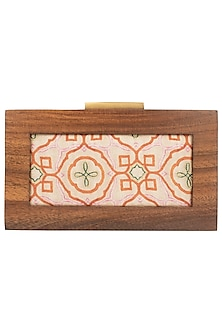 Multi Color Printed Wooden Box Clutch by Vareli Bafna Designs