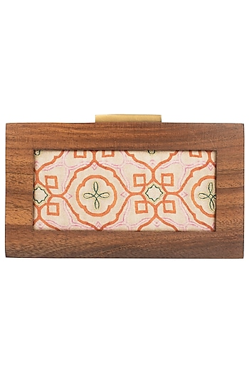 Multi Color Printed Wooden Box Clutch by Vareli Bafna Designs