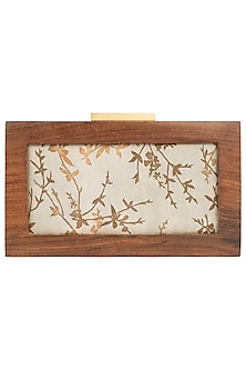 Grey Gold Wire Wooden Box Clutch by Vareli Bafna Designs