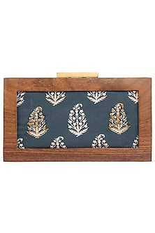 Indigo Printed Wooden Box Clutch by Vareli Bafna Designs