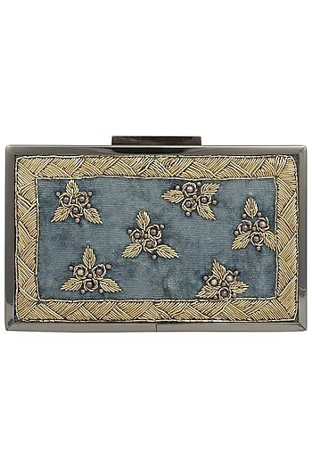 Teal Blue Embroidered Gold Frame Clutch by Vareli Bafna Designs