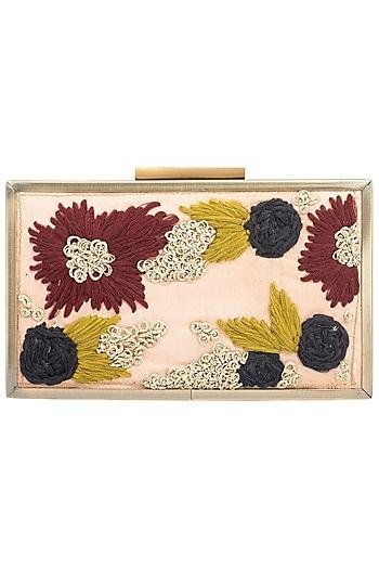 Pink Zari French Knot Antique Frame Clutch by Vareli Bafna Designs