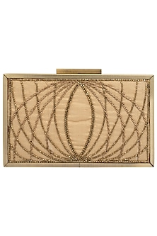 Golden Embroidered Antique Frame Clutch by Vareli Bafna Designs