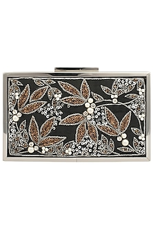 Black Swarovski Embroidered Antique Frame Clutch by Vareli Bafna Designs