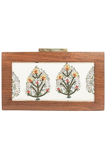 White Gold Wire Detailed Antique Wooden Frame Clutch by Vareli Bafna Designs