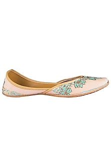 Blush Beige Embroidered Juttis by Vareli Bafna Designs