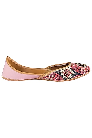 Multi-Coloured Printed and Embroidered Juttis by Vareli Bafna Designs