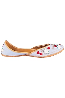 Ash Grey Embroidered Juttis by Vareli Bafna Designs