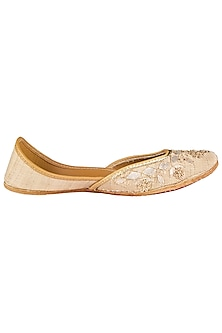 Gold Embroidered Juttis by Vareli Bafna Designs
