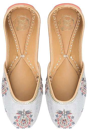 Grey Embroidered Printed Juttis by Vareli Bafna Designs