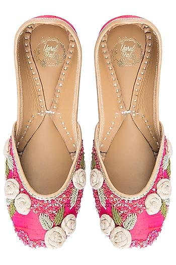 Pink Embroidered Floral Juttis by Vareli Bafna Designs
