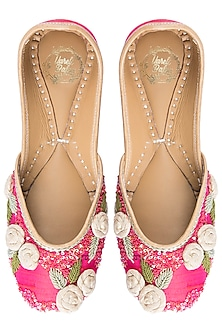 Pink Embroidered Floral Juttis by Vareli Bafna Designs