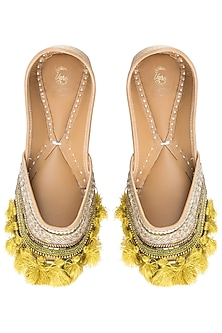 Corn Yellow Embroidered Juttis by Vareli Bafna Designs