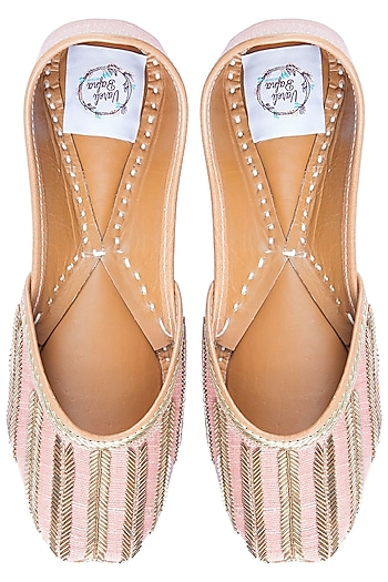 Pink Embroidered Juttis by Vareli Bafna Designs