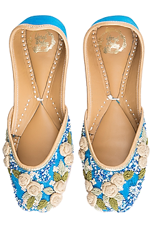 Blue Embroidered Floral Juttis by Vareli Bafna Designs