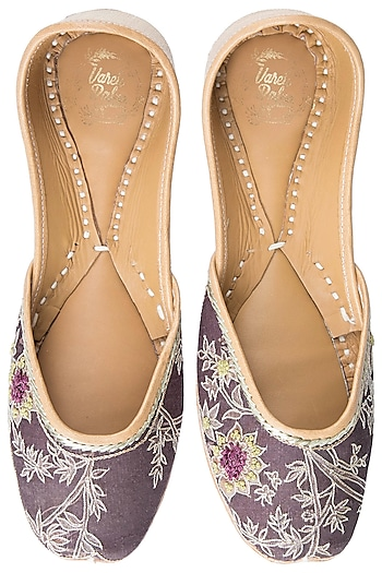 Brown Embroidered Juttis by Vareli Bafna Designs