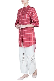 Maroon high-low tunic by Varun Bahl Pret