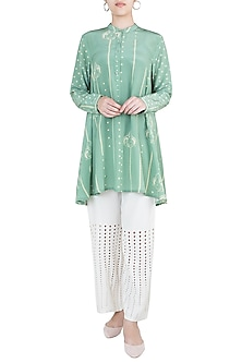Sage green asymmetrical tunic by Varun Bahl Pret
