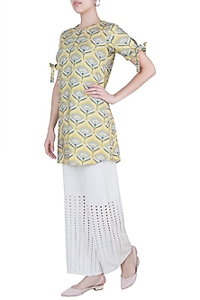 Mustard embellished tunic by Varun Bahl Pret