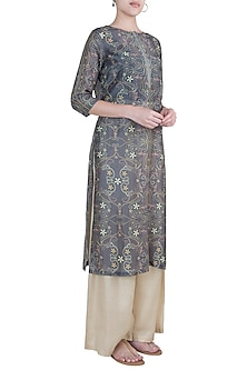 Grey straight kurta by Varun Bahl Pret
