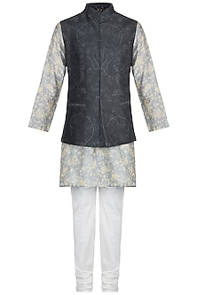 Powder Blue Printed Kurta Set With Dark Grey Bundi Jacket by Varun Bahl Men