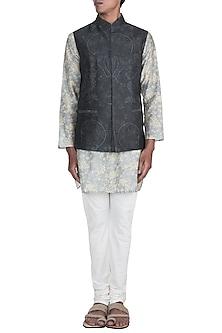Powder Blue Printed Kurta Set With Dark Grey Bundi Jacket by Varun Bahl Men