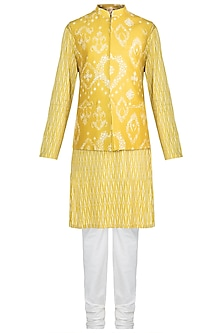 Mustard Printed Kurta Set With Bundi Jacket by Varun Bahl Men