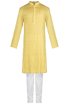 Mustard Printed Kurta Set by Varun Bahl Men