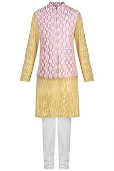 Mustard Printed Kurta Set With Pink Bundi Jacket by Varun Bahl Men