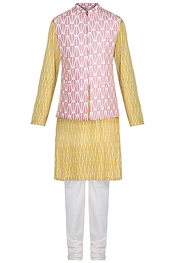 Mustard Printed Kurta Set With Pink Bundi Jacket by Varun Bahl Men