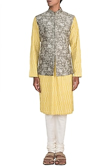 Mustard Printed Kurta Set With Grey Bundi Jacket by Varun Bahl Men