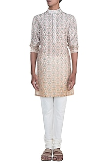 Pink Ombre Printed Kurta Set by Varun Bahl Men