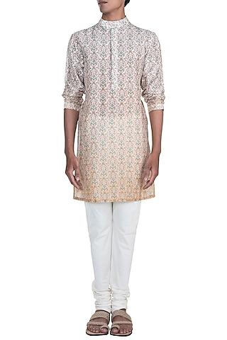 Pink Ombre Printed Kurta Set by Varun Bahl Men
