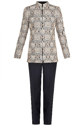 Grey Embroidered Bandhgala Jacket With Pants by Varun Bahl Men