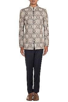 Grey Embroidered Bandhgala Jacket With Pants by Varun Bahl Men