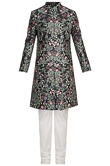 Black Printed Sherwani Set by Varun Bahl Men