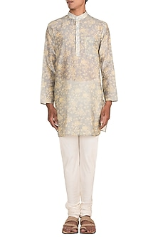 Light Grey Printed Kurta Set by Varun Bahl Men