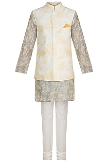Powder Blue Printed Kurta Set With Ivory Bundi Jacket by Varun Bahl Men