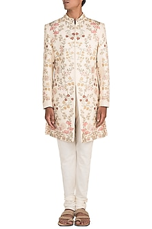 Ivory Floral Printed Sherwani Set by Varun Bahl Men