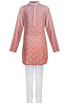 Peach Ombre Printed Kurta Set by Varun Bahl Men