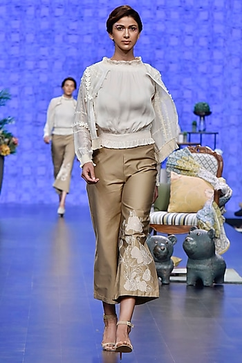 Ivory Bomber Jacket With Top & Beige Applique Pants by Varun Bahl