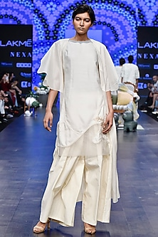 Ivory Butterfly Long Jacket With Tunic & Flared Pants by Varun Bahl