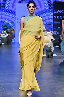 Yellow & Duckegg Printed Pre-Stitched Saree Set by Varun Bahl