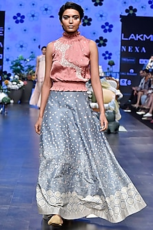 Dark Pink Sequins Top With Duckegg Digital Printed Lehenga Skirt by Varun Bahl