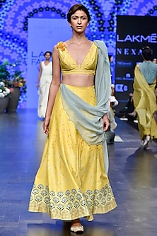 Mustard & Duckegg Digital Printed Lehenga Set by Varun Bahl