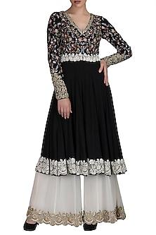 Black Embroidered Anarkali Jacket With Sharara Pants by Varun Bahl