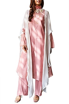 Pink Kurta With Pants & Cape by Varun Bahl