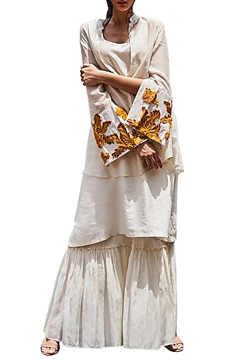 Ivory Embroidered Gharara Set by Varun Bahl